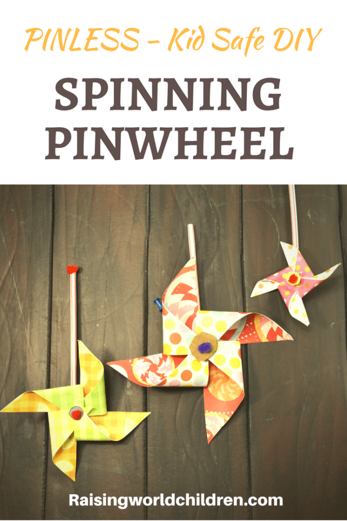 Have fun creating this pin-less paper spinning wheel kid safe spinning wheel to enjoy summer with.