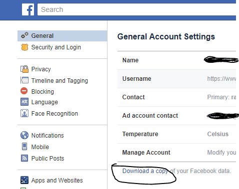 Download a copy of data collected by Facebook