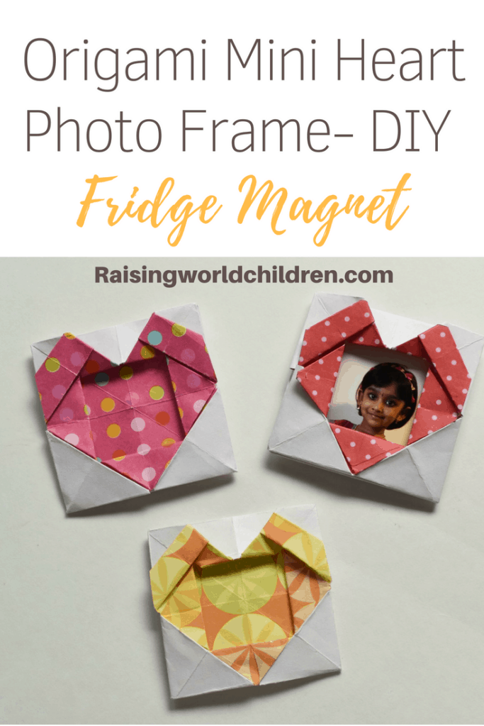Origami Mini Heart Photo Frame - DIY Fridge Magnet